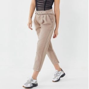 High-Rise Pleated Belted Tapered Utility Pants,NWT